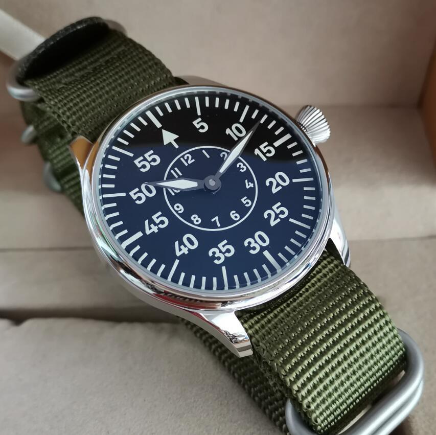 GEERVO No logo pilot 44mm Manual mechanical men's Watch No second hand C3 Super luminous ST3600-2 mo