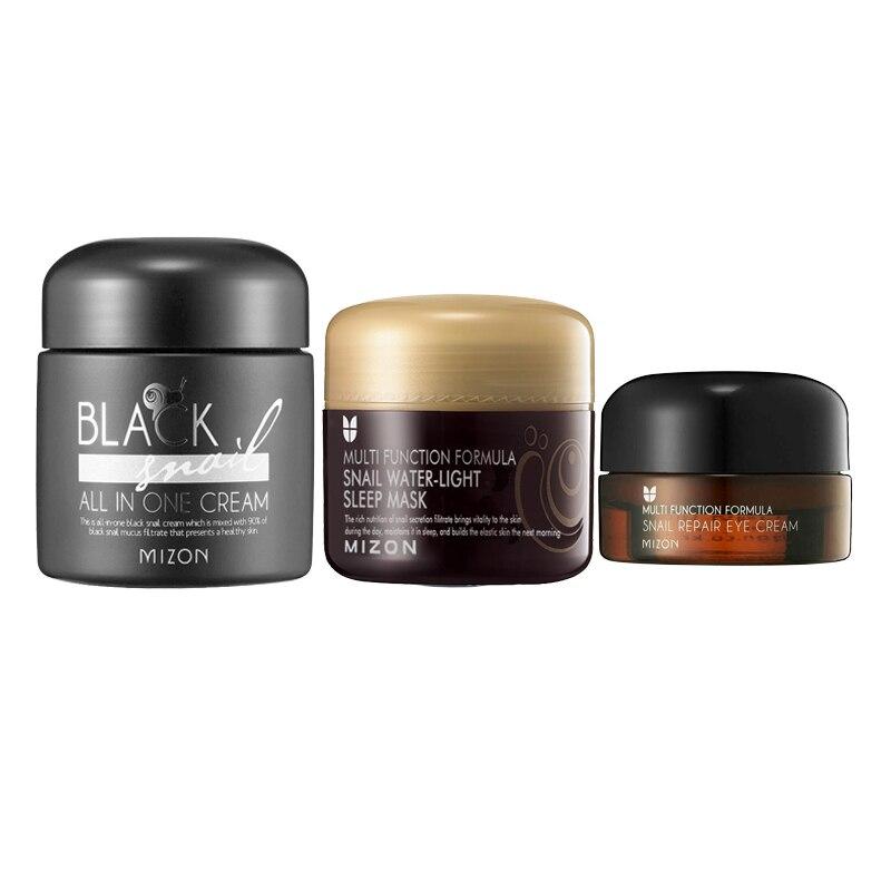 MIZON Black Snail All In One Cream 75g   Snail Sleep Mask 80g   Eye Cream 25g Face Care Set Hydrating Whitening Anti Wrinkle