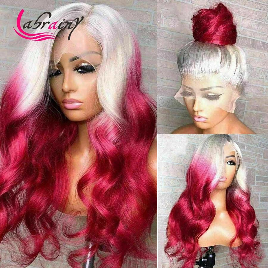 Парики Омбре 613 розовые HD на сетке спереди, 40 дюймов, женские светлые на сетке спереди, человеческие волосы, парики Burgudy Body Wave, полное выделени...
