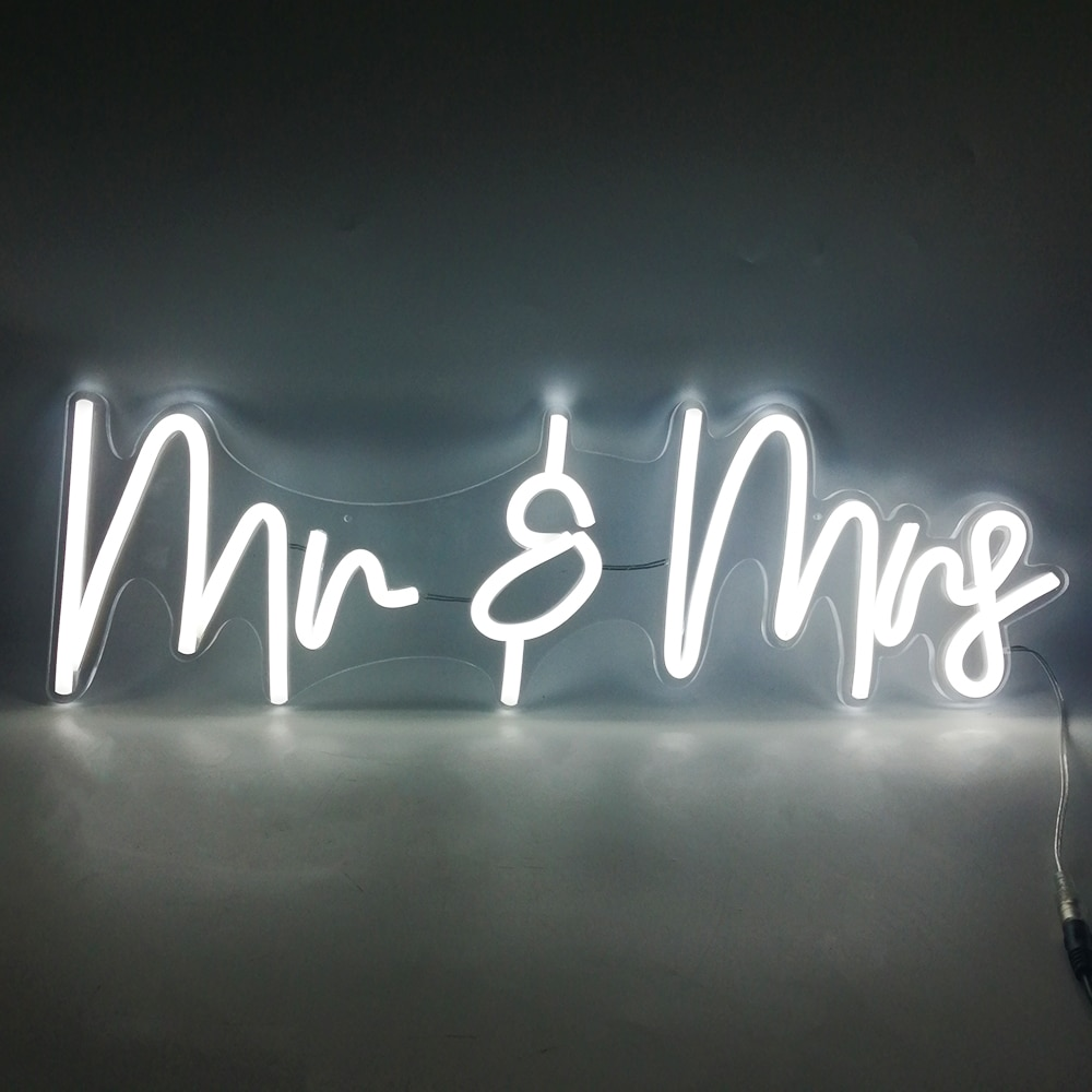 Custom Letters 56x17cm Mr & Mrs Neon Sign Light Led Party Light 12V Indoor Leds Wedding Birthday Party Marriage Decoration