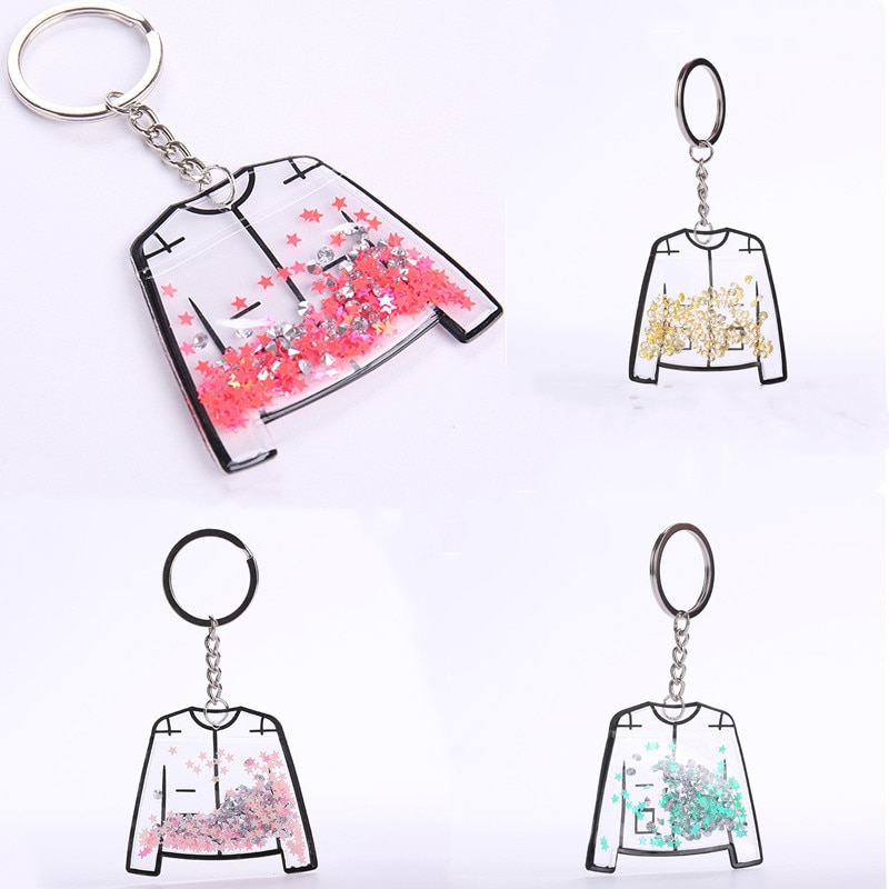 Colorful Fashion Key Chain Women Charm Gifts Jewelry Transparent Clothes Shape Keychain Handbags Holder Key Ring
