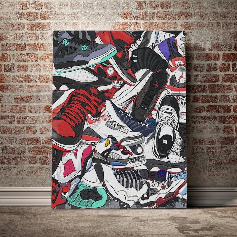 Póster nórdico e impresiones, arte de pared, lona, moda, deportes, zapatos, póster estético, lienzo HD, pintura para sala de estar, habitación de niño