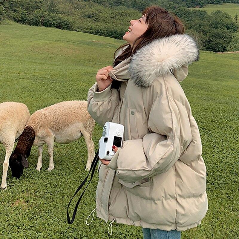 Фото - Пальто из хлопка, Женское зимнее пуховое пальто средней длины с капюшоном, женское толстое пальто, женская Свободная Повседневная пуховая к... пальто средней длины с капюшоном
