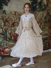 Vestido Mujer primavera verano Mujer Mori chica elegante dulce manga de campana grande Vintage estampado Floral Casual vestido de chifón largo Suelto