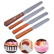 4/6/8/10 pouces en acier inoxydable spatule crème beurre grattoir pâte gâteau spatule avec manche en bois outils de gâteau de cuisson pour la pâtisserie