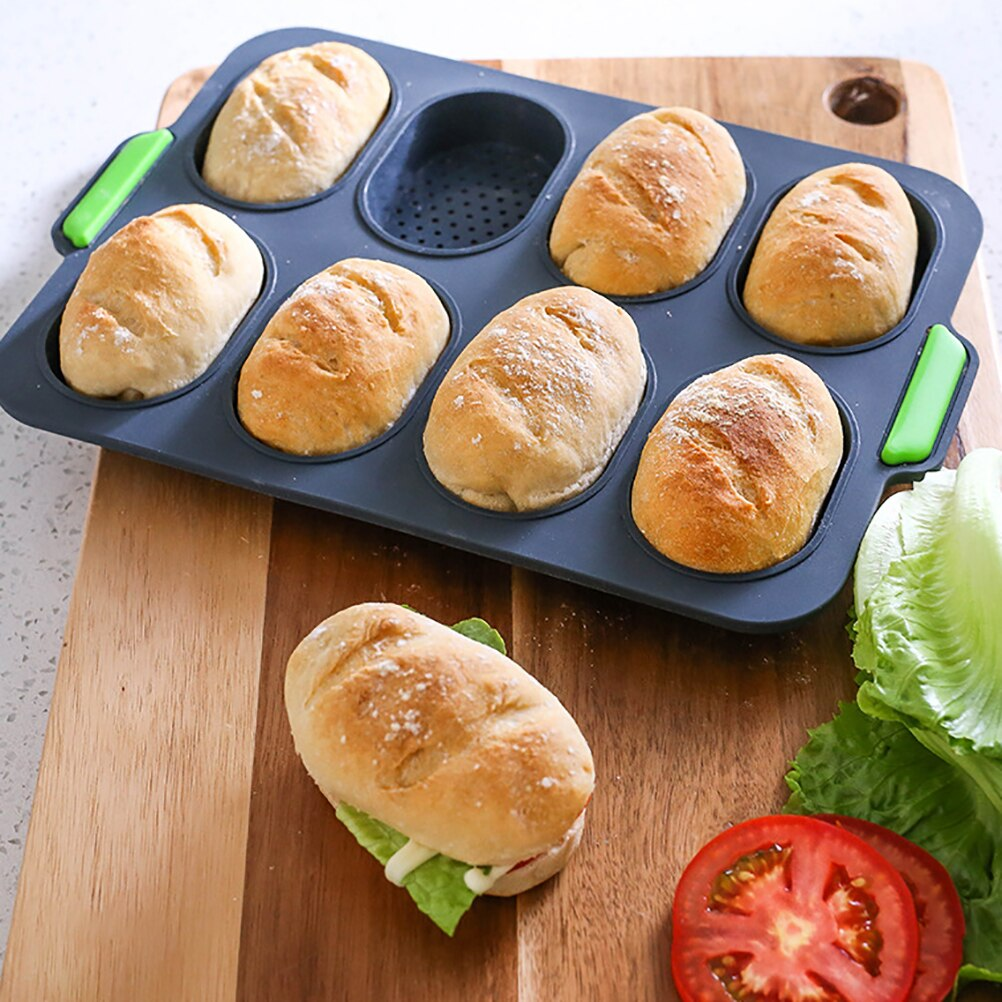 Molde de Pan antiadherente para fiesta DIY Mini bandeja de hornear Baguette de silicona redondo panadero horneando herramienta Baguette Pan