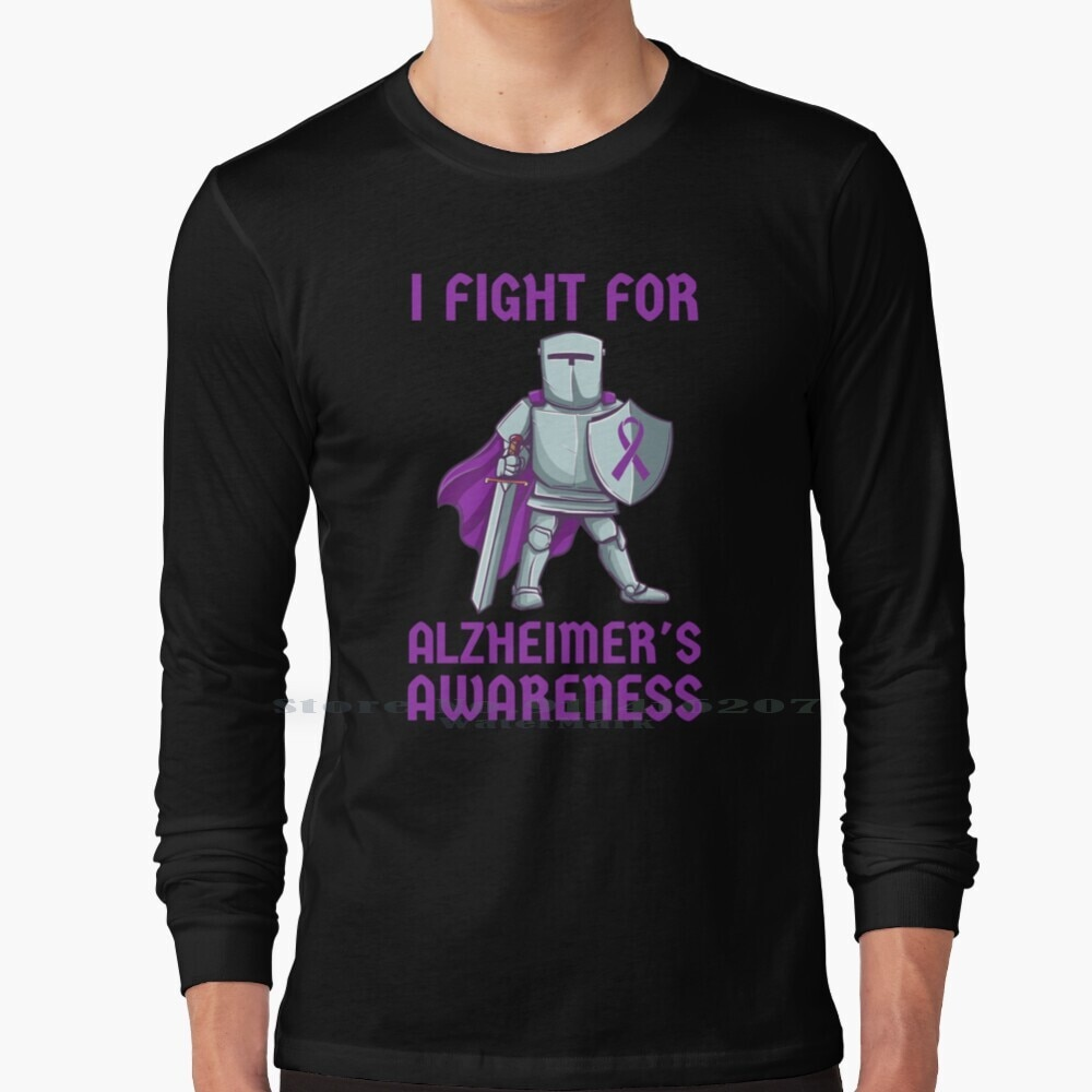I Fight For Alzheimers Cancer Awareness Long Sleeve T Shirt Alzheimers Purple Memory Brain Old Age Cancer Ribbon Awareness