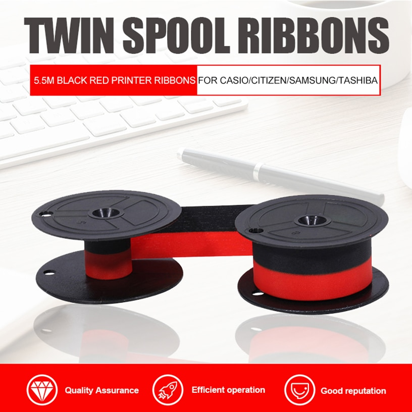 GR24, cintas de doble bobina para máquinas de escribir, 5,5 M, Color negro, rojo, cintas de impresora para CASIO/CITIZEN/SAMSUNG/TASHIBA