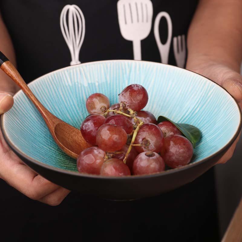 FANCITY الإبداعية الجليد متصدع الصقيل اليابانية أدوات مائدة سيراميك المنزلية شخصية مستديرة الإفطار الغربية الغذاء طبق ستيك سال