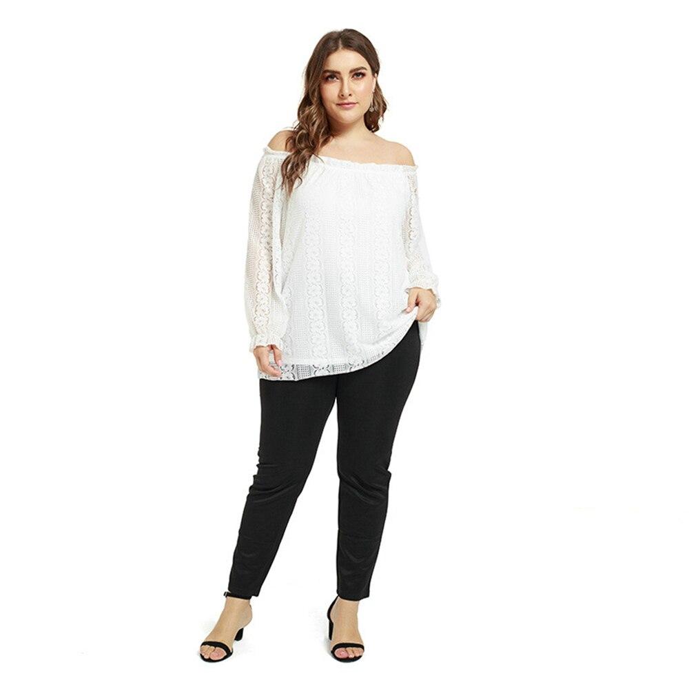 plus size drop shoulder striped tunic t shirt Plus Size Blouses for Women Off Shoulder Sexy Long Sleeve Lace Tunic Top Large Size Blouses Fat Ladies Slash Neck Loose T Shirt
