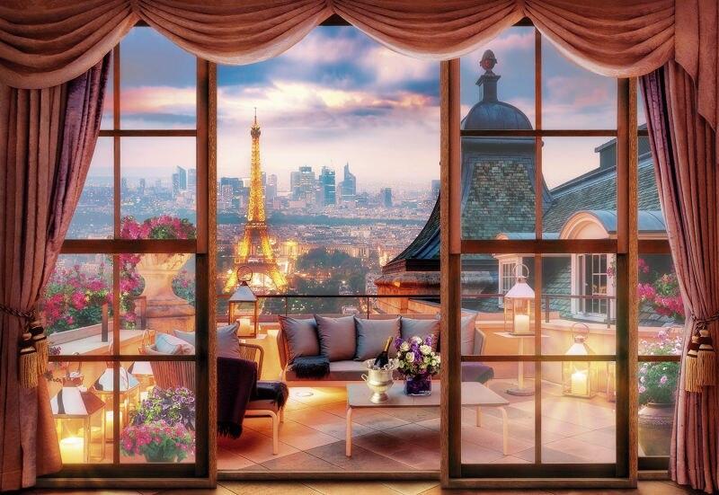 JMINE Div 5D París Torre Eiffel paisaje de ventana cuadro completo de diamantes kits de Arte de punto de cruz pintura 3D escénica de diamantes