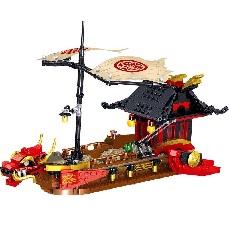 مجموعة مكعبات بناء على شكل قارب تنين باونتي نينجا ليجاسي ديستيني لعبة كلاسيكية على شكل فيلم لعبة هدية للأطفال