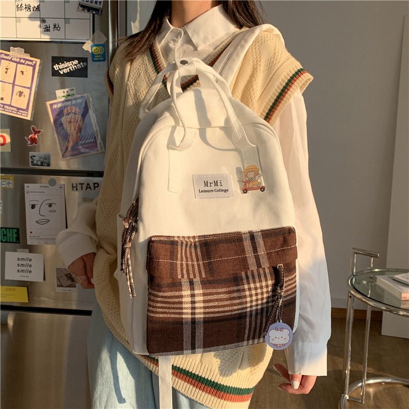 Female Canvas Backpacks for School Teenagers Girls Small Fresh Plaid School Bag Kawaii Bookbag Korea