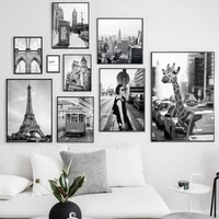 modern monocolour paris london city giraffe travel canvas painting nordic posters prints wall art picture living room home decor