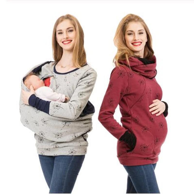 كنزة بغطاء للرأس للإرضاع للنساء الحوامل ، تي شيرت للرضاعة ، ملابس الحمل ، الخريف والشتاء ، 2021