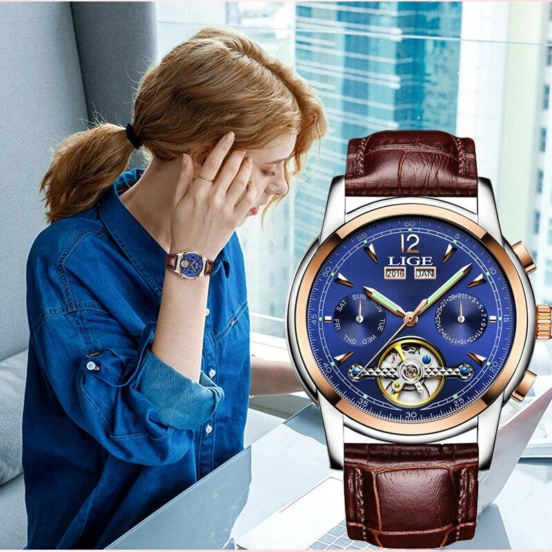 De las mujeres de la moda relojes de marca Luxruy en este momento reloj automático de las mujeres deporte impermeable reloj de señoras de cuero reloj de pulsera