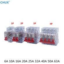 DZ47 MCB 1P 2P 3P 4P Transparence Coquille 6a 10a 16a 20a 25a 32a 40a 50a 63a Maison rénovation Disjoncteur