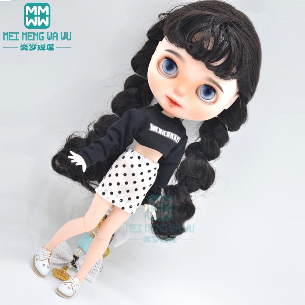 1pcs Blyth Doll Clothes fashion Loose T-shirt, shredded jeans for Blyth Azone OB23 OB24 1/6 doll accessories недорого