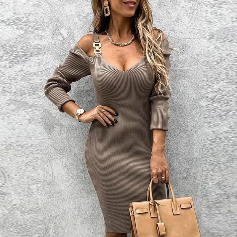 Women Hollow Out V-neck Slim Party Dress Spring Autumn Long Sleeve Rib Knitted Dresses Sexy Off Shou