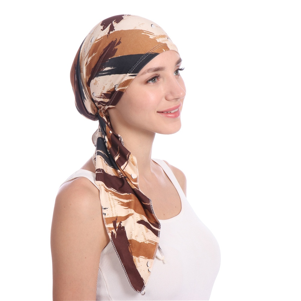2021 New Europe United States Printing Arc Montera Muslim cap Milk Silk Flower Head Cap Spot