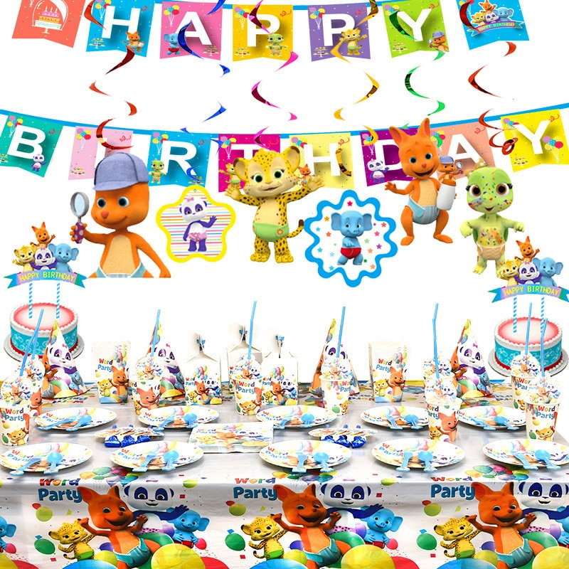 Hot Word Party Theme Birthday Party Decoration Tableware Set Cartoon Animals Paper Cup Plate Baby Shower Kids Birthday Supplies