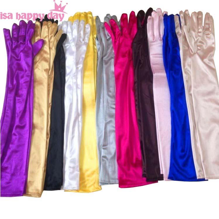 Вишебојни младенци јефтини додаци за венчање младенке беле, црне и црвене даме хаљина сатен елегантне рукавице