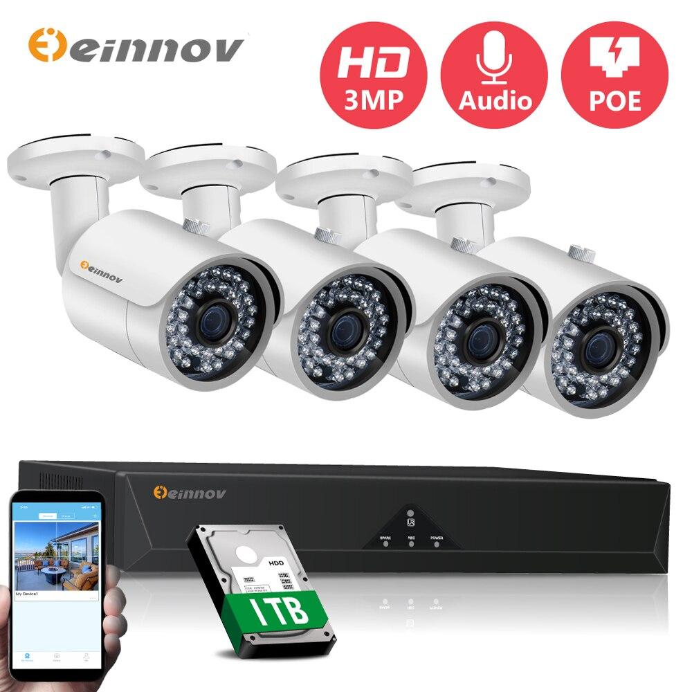 Einnov 4CH 3MP POE cámaras CCTV Cámara Kit de sistema de seguridad...