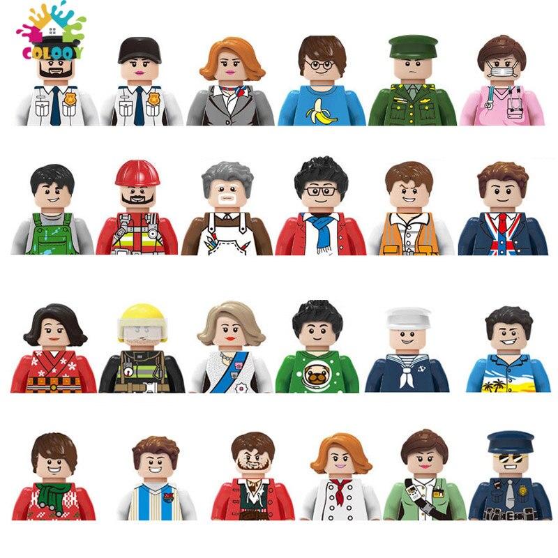Детские игрушки, набор кукол для семьи, строительные блоки, городской рабочий, пожарный, экшн-фигурки, кирпичи, обучающие игрушки для детей, ...