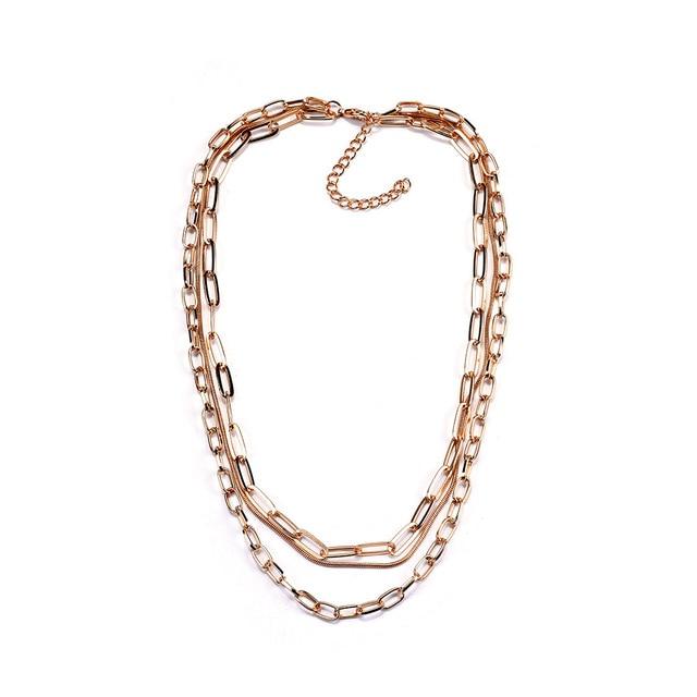 Collar de cadena de oro de moda, collar metálico multicapa estilo Punk bohemio para mujer, gargantilla de uso diario, joyería