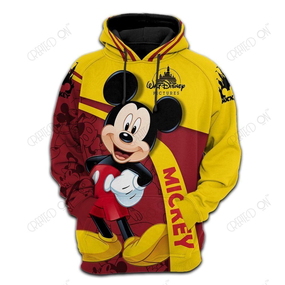 Disney Anime Hoodie Sportswear Mickey Mouse Print Jacket 3d Baseball Uniform Pullover Hoodie for Men and Women Custom Clothing