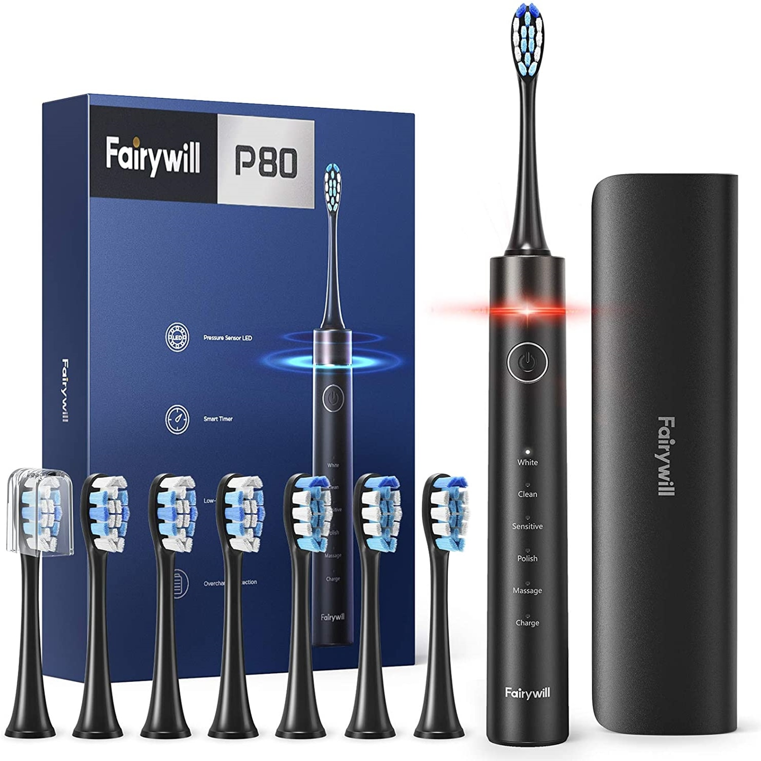 Fairywill Electric Toothbrush P80 Smart Timer Quiet IPX7 Waterproof Fast Charging 8 Replacement Heads 5 Modes with Travel Case