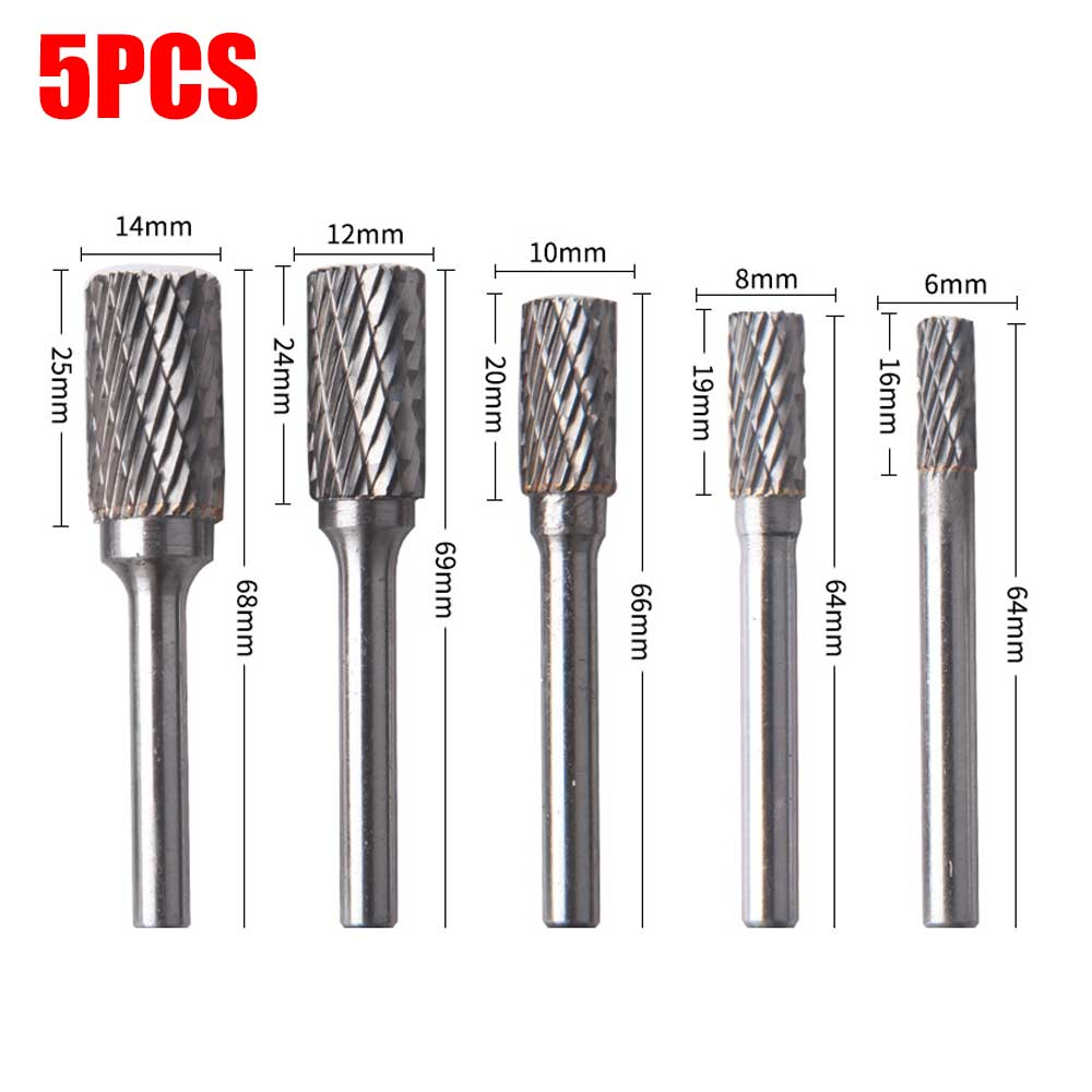 5pcs Set Titanium Rotary File A Type Routing Rotary Milling Rotary File Cutter Wood Carving Carved Knife Cutter Accessories