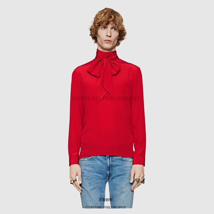 Trendy brand stage singer male shirt 2021 new male red scarf personality shirt street trendy male shirt