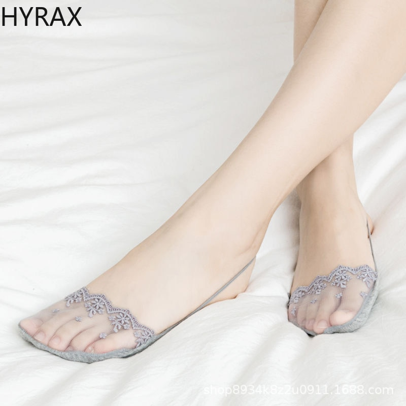HYRAX Boat Socks High-heeled Shoes Shallow Mouth Invisible Half Palm Sling Bud Stockings Thin Hollow