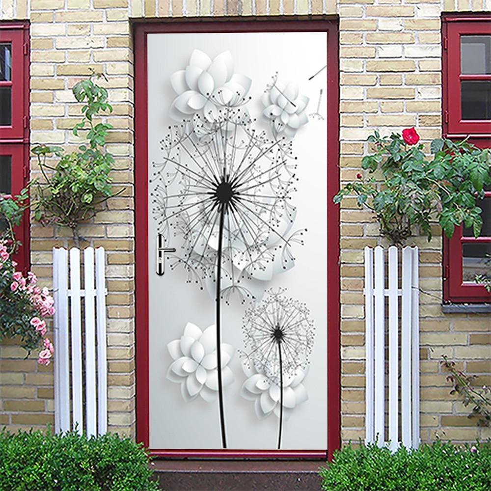 Pegatinas de puerta de paisaje, Vinilos extraíbles 3D Para Puertas, papel pintado...