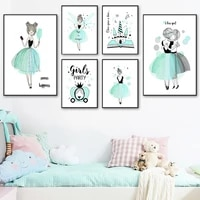 dragonfly girl ballet castle firework star book wall art canvas painting nordic posters and prints wall pictures kids room decor