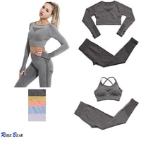 23pcs seamless women yoga set workout sportswear gym clothing fitness long sleeve crop top high waist leggings sports suits