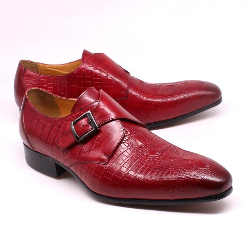 أحذية موكاسين جلدية أصلية للرجال ، أحذية عمل ، مكتب ، صناعة يدوية ، فستان زفاف ، أحمر فاخر ، مع مشبك حزام الراهب ، أحذية رسمية