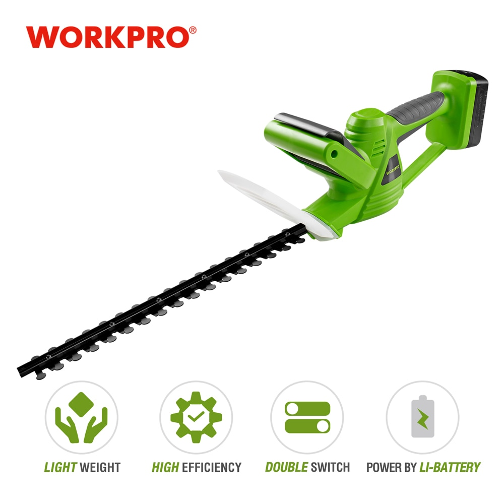 WORKPRO 18V Cordless Electric Trimmer Lithium-ion Hedge Trimmer Rechargeable Weeding Shear For Garden with Blade