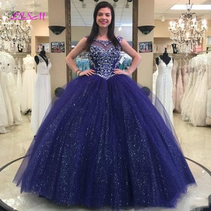 Sparkly Beaded Crystals Quinceanera Dresses Ball Gown Long Prom Dress Tulle Sweet Vestidos de Formatura