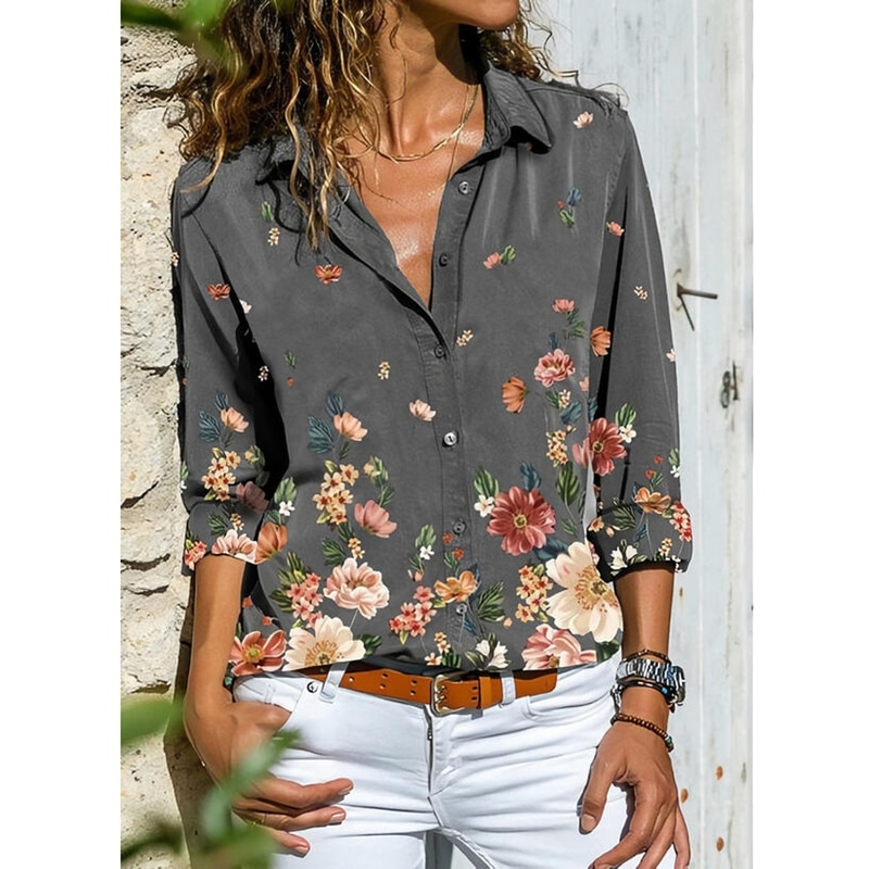 AliExpress - Spring Women's Floral Printed Long-sleeved Lapel Blouses Ladies Fashion Casual Tops Plus Size Loose Button Shirts Women Clothing