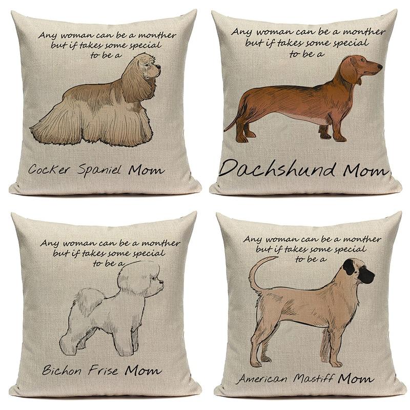 Funda de almohada CANIRICA Dachshund cojines de sofá decorativos para sala de estar Bulldog francés funda de cojín mascota decoración para el hogar ussenhoes