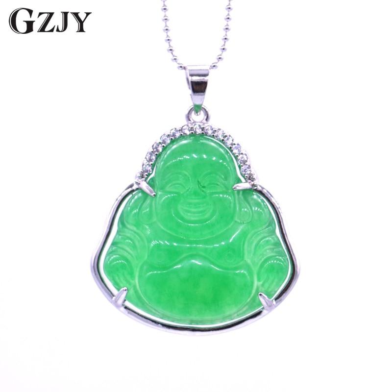 GZJY Fashion Charm Pendant Necklace Smile Buddha Green Stone Zircon Pendant For Women Jewelry Birthday Gift