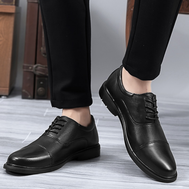 Natural Leather Men Dress Shoes Handmade Formal Office Wedding Plus Size Quality Business Oxfords