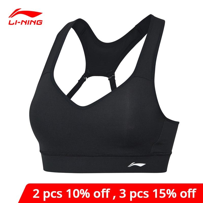Li-ning treinamento feminino sutiãs esportivos suporte médio apertado ajuste náilon elastano poliéster li ning forro esporte topos aubp024 wbj193