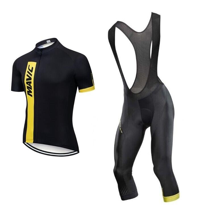 High quality Mavic Cycling jersey short sleeve Jersey Bib Shorts Kit Mavic Cosmic Elite 3/4 Black Summer cycling bib pants