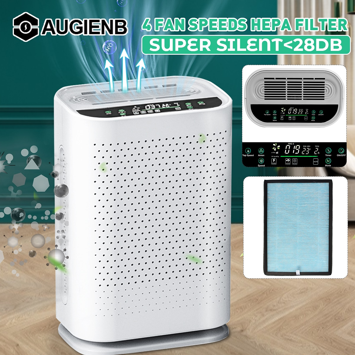 Air Purifier with HEPA Filter Negative Ions Air Cleaner Remove Formaldehyde PM2.5 Smoke Dust  Automatic Monitors Remote Control air purifier household negative ion air filter portable carry on necklace remove smoke formaldehyde purify air