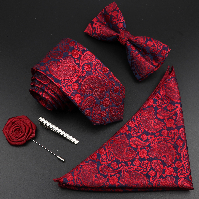 Sólido nuevo seda de colores hombres corbata poliéster jacquar tejido corbata pajarita traje Vintage rojo azul para novio boda fiesta