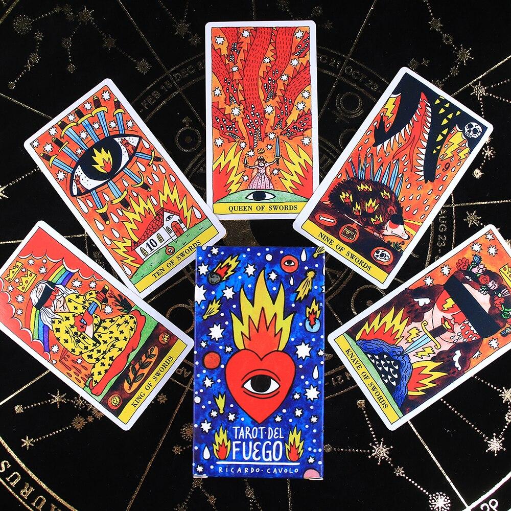 aliexpress.com - Tarot del Fuego Cards Tarot for Deck Oracles Guide Game Toy Fournier Tarot del Fuego por Ricardo Cavolo Baraja de Color Azul