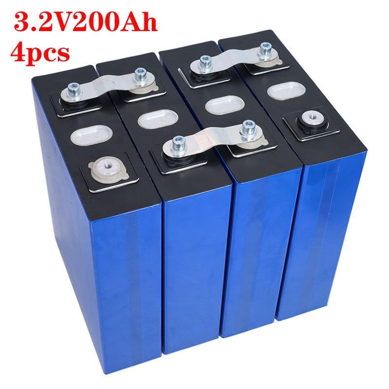 4 قطعة جديد 3.2v200ah lifepo4 بطارية قابلة للشحن ليثيوم الحديد الفوسفات الخلايا الشمسية 12 فولت 200ah الاتحاد الأوروبي ضريبة مجانية usa سريع السفينة